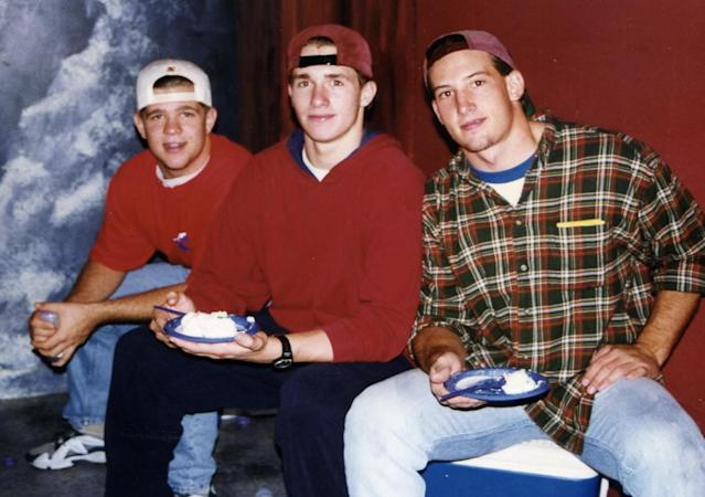 Jonny Rodgers (left) Drew Brees (middle) and teammate Jamie Tyler (right) were three of the key players on Westlake's 1996 state championship team. (photo via Jonny Rodgers)