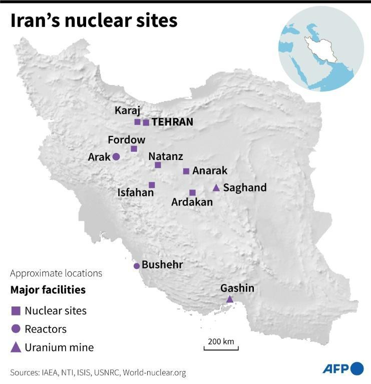 Map of Iran showing main nuclear facilities