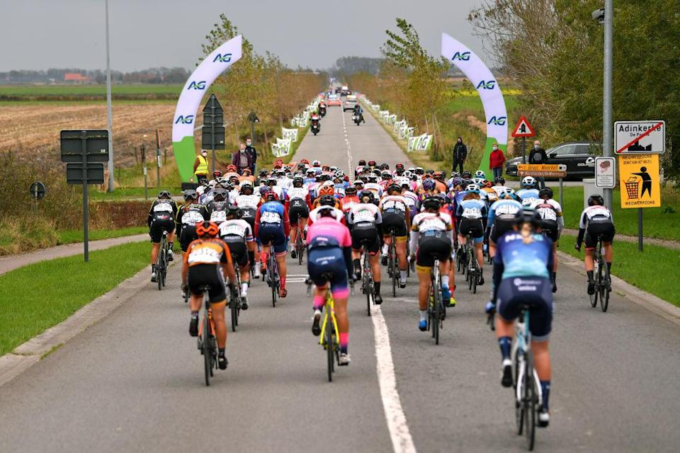 DE PANNE BELGIUM  OCTOBER 20 Olha Kulynych of Ukraine and Team Ciclotel  Peloton  Landscape  during the 3rd Driedaagse Brugge  De Panne 2020 Women Classic a 1563km race from Brugge to De Panne  AG3daagse  on October 20 2020 in De Panne Belgium Photo by Luc ClaessenGetty Images