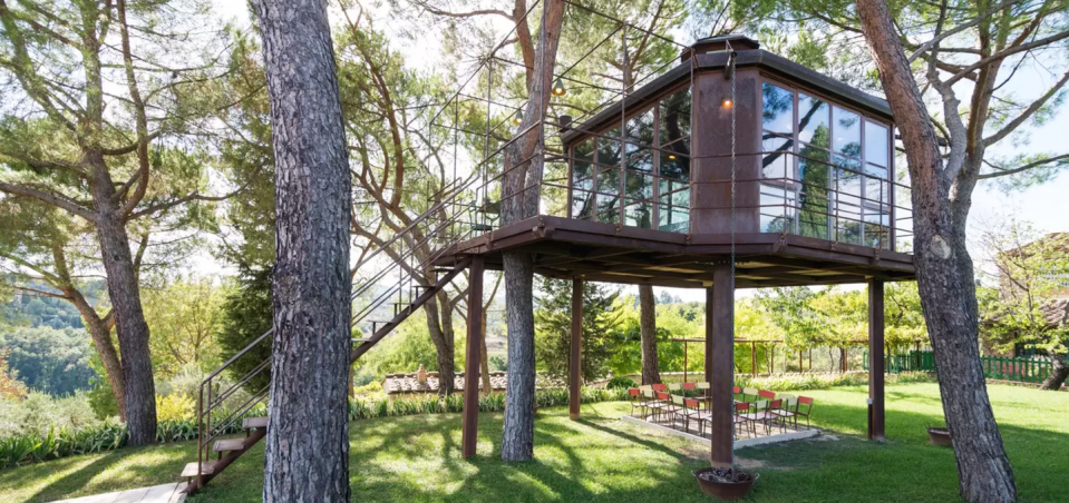 """<p>Romance is in the air in this <span class=""""redactor-unlink"""">Italian treehouse</span> that looks out on the gorgeous Tuscan landscape. The views might even beat out the <em>actual</em> <a href=""""https://www.housebeautiful.com/design-inspiration/real-estate/a21938540/rent-under-the-tuscan-sun-villa/"""" rel=""""nofollow noopener"""" target=""""_blank"""" data-ylk=""""slk:villa from Under The Tuscan Sun"""" class=""""link rapid-noclick-resp"""">villa from <em>Under The Tuscan Sun</em></a>.</p><p><a class=""""link rapid-noclick-resp"""" href=""""https://www.airbnb.com/rooms/1621152"""" rel=""""nofollow noopener"""" target=""""_blank"""" data-ylk=""""slk:BOOK NOW"""">BOOK NOW</a> <strong><em>TREEhouse/casaBARTHEL</em></strong><br></p>"""
