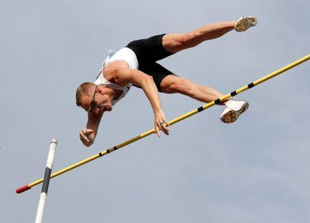 Athletics - Diamond League - Athletissima - Place d'Ouchy, Lausanne, Switzerland - July 4, 2018 Sam Kendricks of the U.S. during the pole vault REUTERS/Denis Balibouse