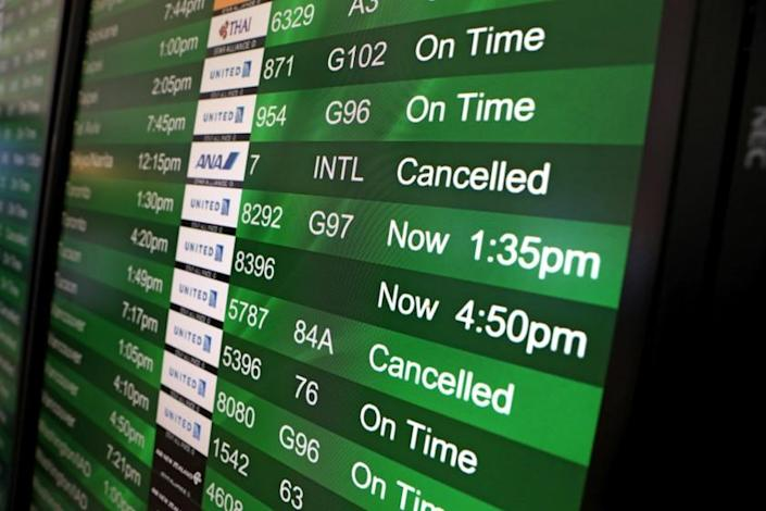 SAN FRANCISCO, CALIFORNIA - SEPTEMBER 09: Cancelled flights are displayed on a departures board at San Francisco International Airport on September 09, 2019 in San Francisco, California. Hundreds of departing and arriving flights at San Francisco International Airport have been cancelled or significantly delayed each day since September 7 as a planned $16.2 million runway renovation project gets underway. The project is expected to be finished by September 27. (Photo by Justin Sullivan/Getty Images) ** OUTS - ELSENT, FPG, CM - OUTS * NM, PH, VA if sourced by CT, LA or MoD **