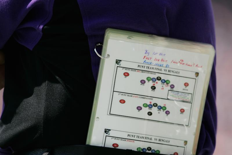 CINCINNATI - SEPTEMBER 26: A Baltimore Ravens playbook during the game against the Cincinnati Bengals at Paul Brown Stadium on September 26, 2004 in Cincinnati, Ohio. The Ravens defeated the Bengals 23-9. (Photo by Andy Lyons/Getty Images)