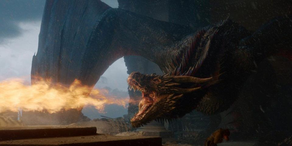 Drogon burns the Iron Throne (Credit: HBO)