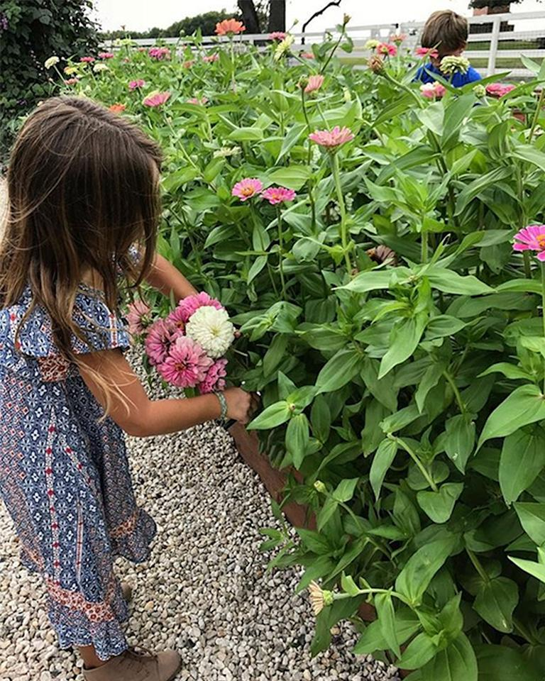 """<p>""""A bouquet of zinnias to celebrate the weekend ??,"""" Joanna, 39, wrote in August <a rel=""""nofollow"""" href=""""https://www.instagram.com/p/BYPCAMIHlz5/"""">next to a snap</a> of two of her children picking flowers.</p>"""