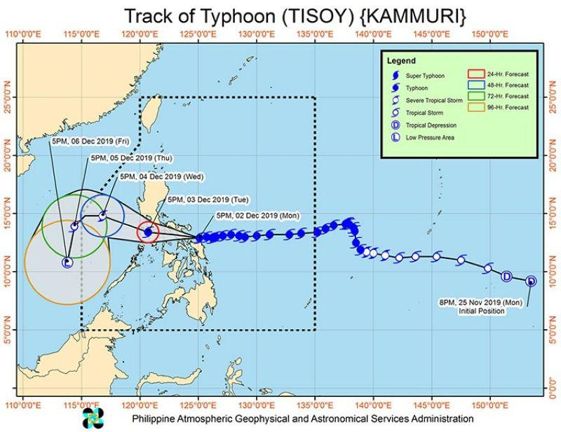 'Tisoy' further intensifies, about to make landfall in Sorsogon