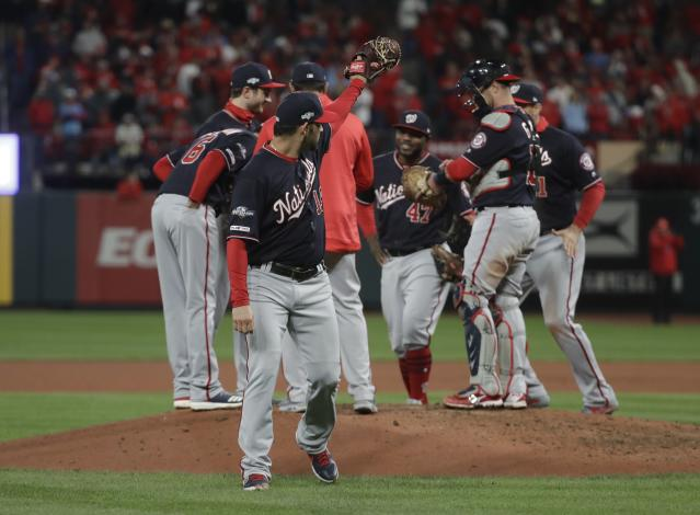 Washington Nationals starting pitcher Anibal Sanchez waves after being taken out of the game during the eighth inning of Game 1 of the baseball National League Championship Series Friday, Oct. 11, 2019, in St. Louis. (AP Photo/Mark Humphrey)