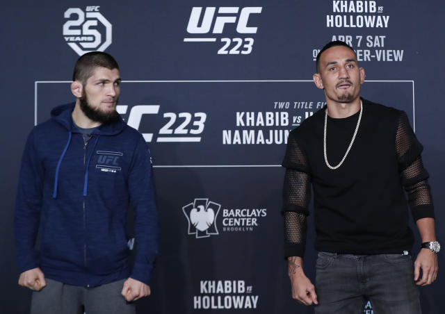 Max Holloway failed to make weight vs. Khabib Nurmagomedov, canceling the main event of UFC 223 after Holloway agreed to fight Nurmagomedov on just six days' notice after original challenger Tony Ferguson injured a knee. (AP)
