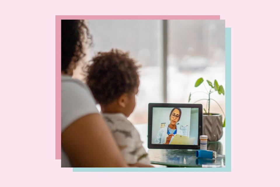 An image of a a woman with her child during a virtual pediatrician visit.