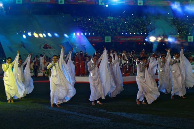 FILE PHOTO: Dancers perform during the opening ceremony of the ISL soccer tournament at Salt Lake stadium in Kolkata