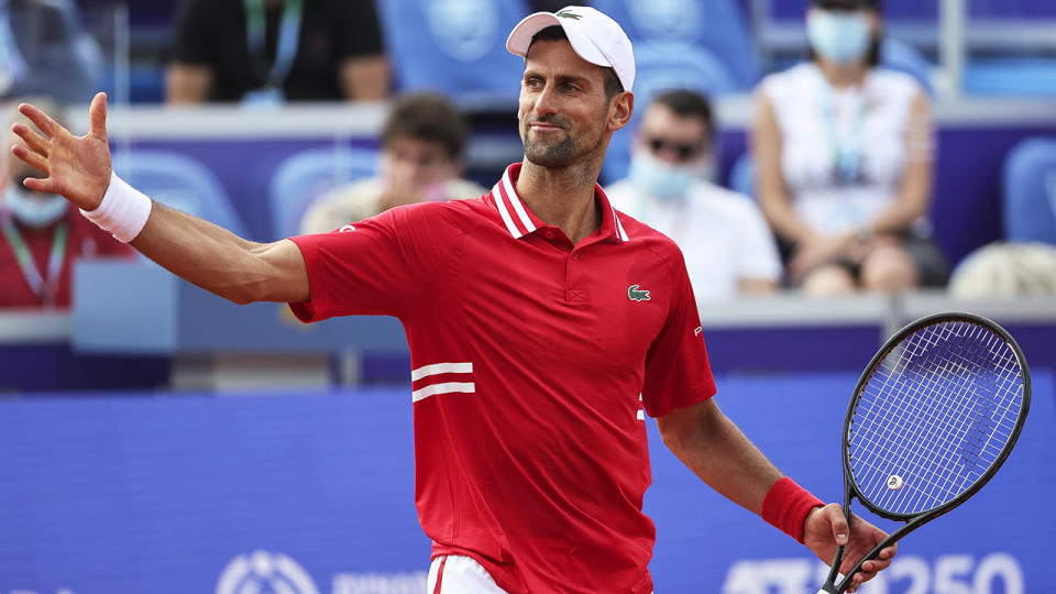 Novak Djokovic has won through to the final of the Belgrade II Open ahead of the French Open. (Photo by Srdjan Stevanovic/Getty Images)