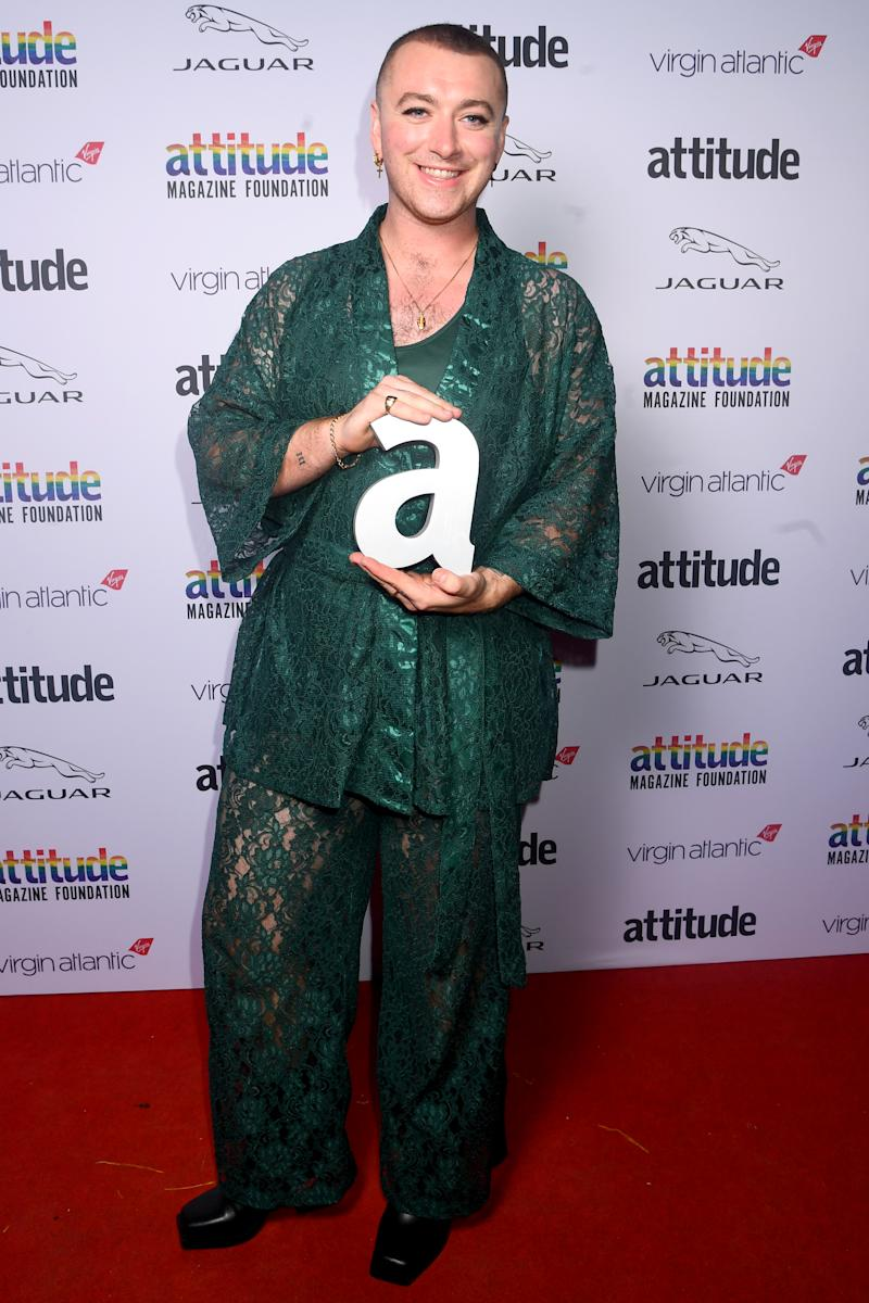Sam Smith poses with the Attitude Person of the Year Award at the Attitude Awards 2019 last night. [Photo: Getty]