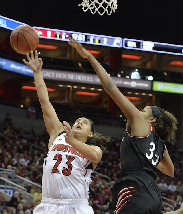 No. 7 Louisville women top Cincinnati 64-45
