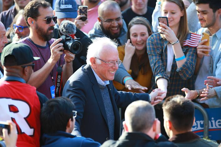 Vermont senator and Democratic presidential candidate Bernie Sanders leads through the crowd at a rally in Long Island City, New York on Saturday, Oct. 19, 2019. (Photo: Gordon Donovan/Yahoo News)