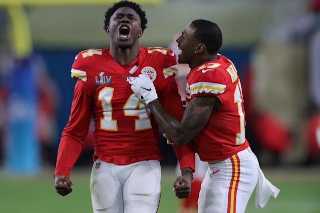MIAMI, FLORIDA - FEBRUARY 02: Sammy Watkins #14 of the Kansas City Chiefs reacts during the fourth quarter against the San Francisco 49ers in Super Bowl LIV at Hard Rock Stadium on February 02, 2020 in Miami, Florida. (Photo by Jamie Squire/Getty Images)