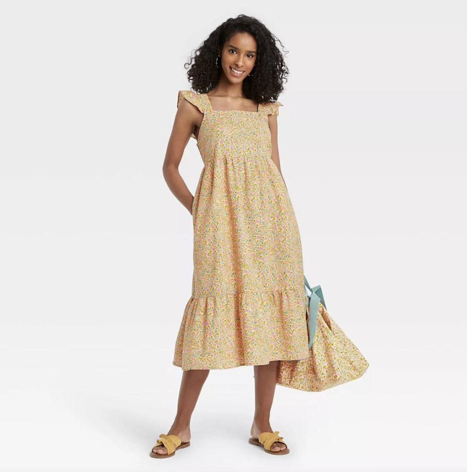 <p>For something comfortable, floral, and cheerful, go for this easygoing <span>Universal Thread Ruffle Sleeveless Dress</span> ($30).</p>