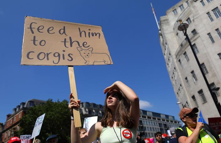 Demonstrators protest against the visit of U.S. President Donald Trump, in central London, Britain, July 13, 2018.