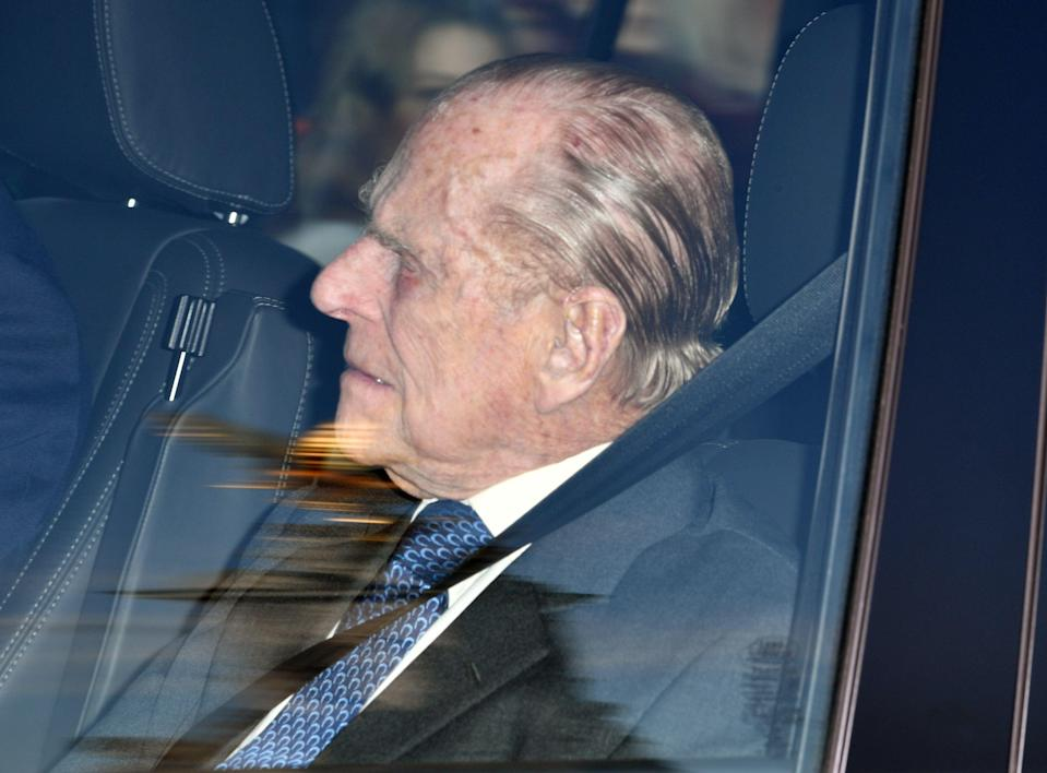 <p>The Duke of Edinburgh arrives at Buckingham Palace [Photo: Rex] </p>