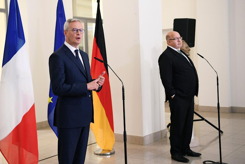 German economy minister Peter Altmaier, right, and his French counterpart Bruno Le Maire in June 2020. Photo: Annegret Hilse/AFP via Getty
