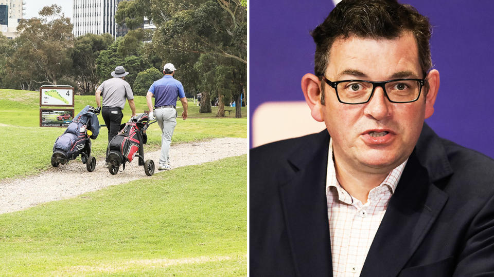 Daniel Andrews, pictured here addressing the media in Melbourne.