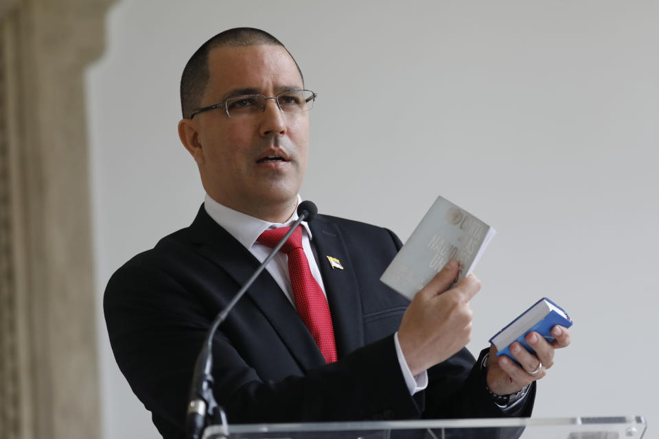 """Venezuelan Foreign Minister Jorge Arreaza gives a news conference at his office moments after he met with European Union Ambassador to Venezuela Isabel Brilhante Pedrosa to give her a letter of """"persona non grata,"""" and giving her 72 hours to leave the country, in Caracas, Venezuela, Wednesday, Feb. 24, 2021. The meeting was called after the EU sanctioned an additional 19 Venezuelans for """"undermining democracy and the rule of law"""" in Venezuela and the National Assembly declared the EU ambassador """"persona non grata."""" (AP Photo/Ariana Cubillos)"""