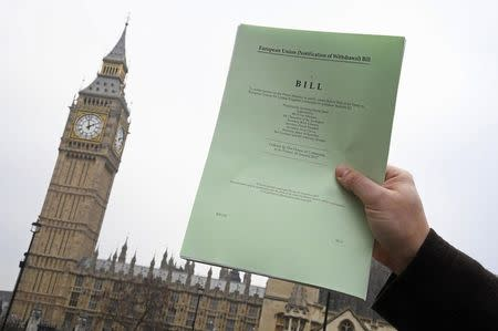 A journalist poses with a copy of the Brexit Article 50  bill, introduced by the government to seek parliamentary approval to start the process of leaving the European Union, in London