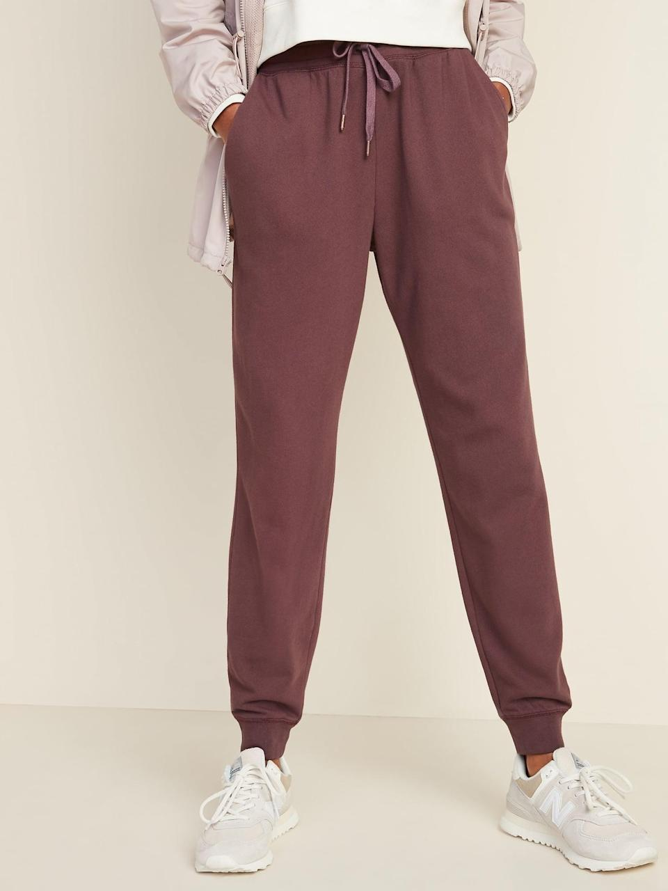 <p>I have the <span>Mid-Rise Tapered-Leg Jogger Pants</span> ($24, originally $30) in this fun maroon shade.</p>