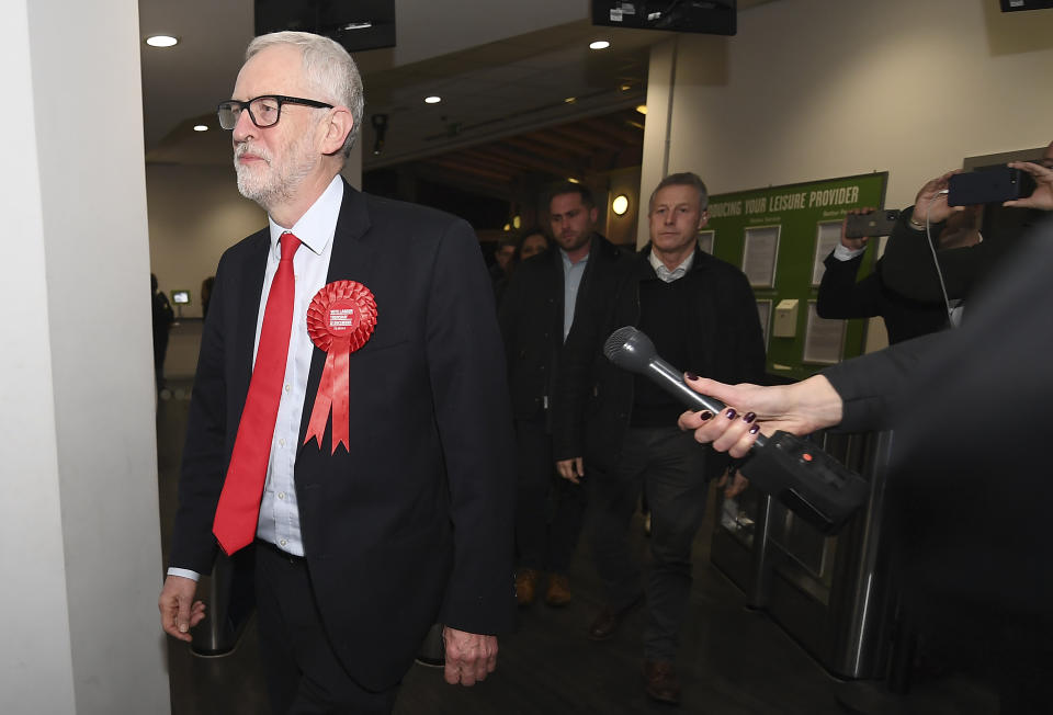 British opposition Labour Party leader Jeremy Corbyn arrives for the declaration of his seat in the 2019 general election in Islington, London, Friday, Dec. 13, 2019. The first handful of results to be declared in Britain's election are showing a surge in support for to the Conservatives in northern England seats where Labour has long been dominant. (AP Photo/Alberto Pezzali)