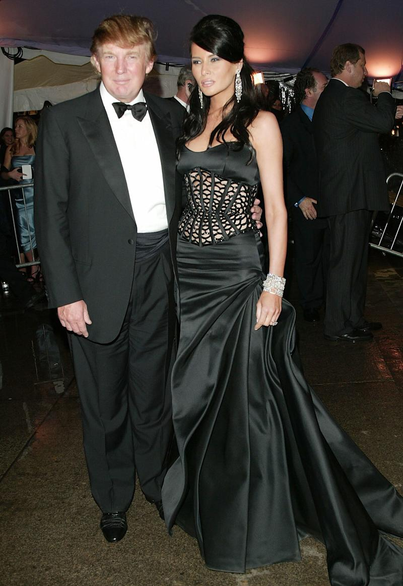 Trump and his then-girlfriend Melania Knauss at the Met Gala in 2004.