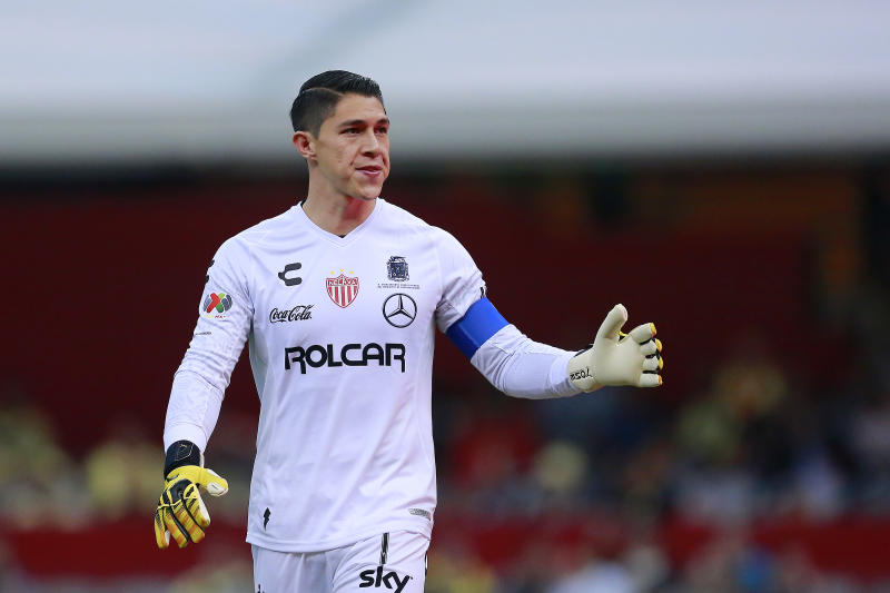 MEXICO CITY, MEXICO - FEBRUARY 29: Hugo Gonzalez goalkeeper of Necaxa during the 8th round match between America and Necaxa as part of the Torneo Clausura 2020 Liga MX at Azteca Stadium on February 29, 2020 in Mexico City, Mexico. (Photo by Mauricio Salas/Jam Media/Getty Images)