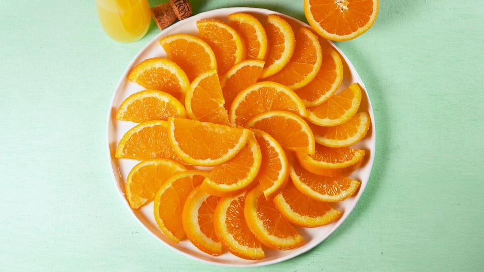 "<p>Best known as a good source of vitamin C, oranges are a go-to food when your immune system needs a little boost. Vitamin C is also thought to stimulate collagen production (a reason it pops up in so many skin creams and products), so eating lots of oranges could help keep your skin looking smooth and supple, too. In addition to their high vitamin C content, oranges also have other good stuff like folate, potassium, and vitamin B1.</p><p><strong>Recipe: <a href=""https://www.delish.com/cooking/recipe-ideas/a20125391/mimosa-oranges-recipe/"" rel=""nofollow noopener"" target=""_blank"" data-ylk=""slk:Mimosa Oranges"" class=""link rapid-noclick-resp"">Mimosa Oranges</a></strong></p>"