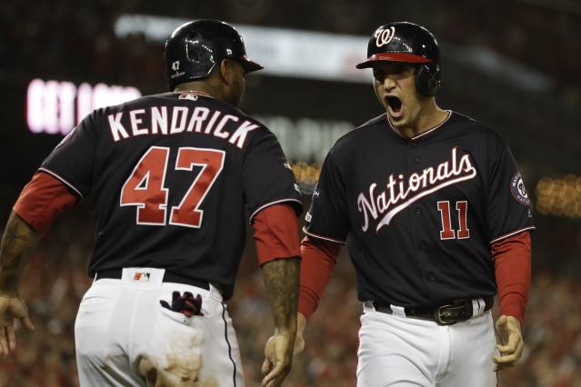 The Washington Nationals scored seven first-inning runs in NLCS Game 4. (AP Photo/Jeff Roberson)