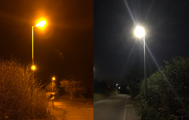 An image of two streetlights comparing sodium lights (on the left) and white LEDs (on the right).