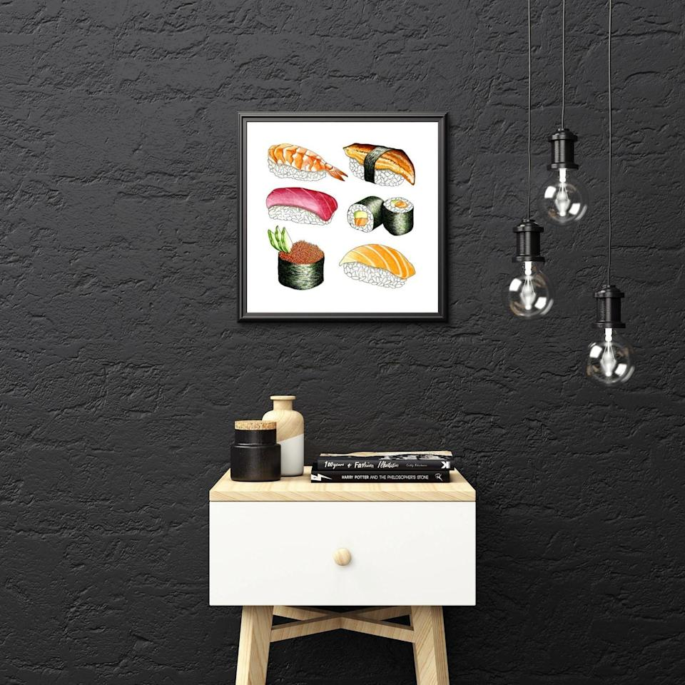 <p>All they have to do is frame this <span>Sushi Illustration</span> ($15-$32) and display it wherever they please.</p>