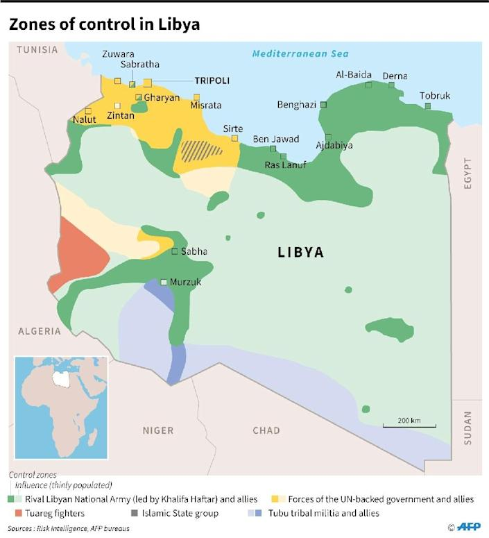 Map showing zones of control in Libya, as of April 5 (AFP Photo/Thomas SAINT-CRICQ)