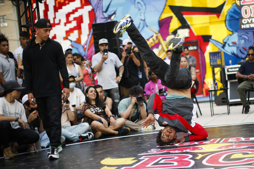 B-boys Frankie, right, and Whoran compete during Red Bull BC One event on, Saturday, July 24, 2021. in New York, NY. Many in the breaking community are eager for the art form to expand its audience after the International Olympic Committee announced that it would become an official sport at the Paris 2024 games. But that optimism is hardly unanimous. (AP Photo/Eduardo Munoz Alvarez)