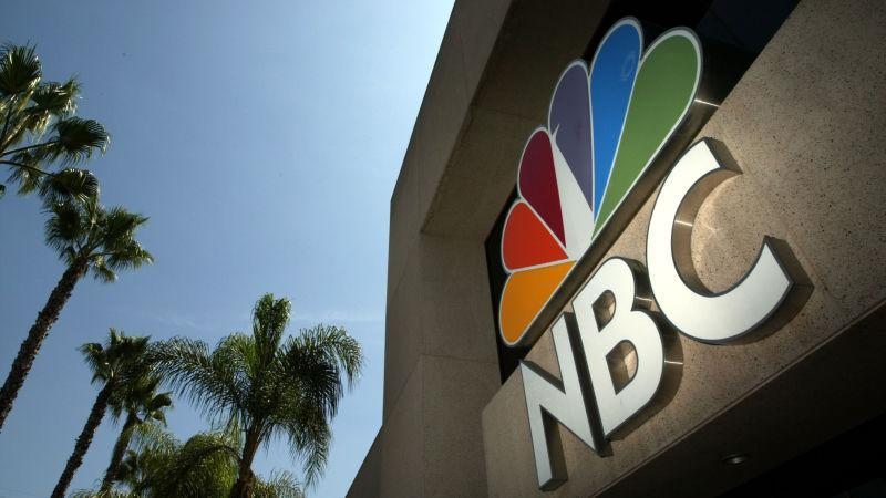 The NBC peacock logo as seen on the NBC studios building August 28, 2003 in Burbank, California.