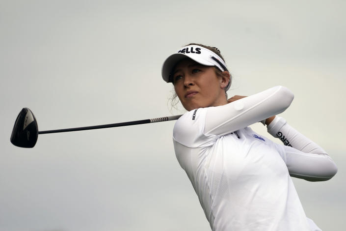 Nelly Korda hits off the 11th tee in the second round of the Cognizant Founders Cup LPGA golf tournament, Friday, Oct. 8, 2021, in West Caldwell, N.J. (AP Photo/John Minchillo)
