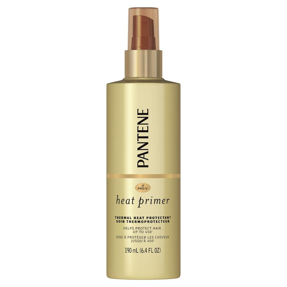"""<p><strong>Pantene</strong></p><p>walmart.com</p><p><strong>$4.97</strong></p><p><a href=""""https://go.redirectingat.com?id=74968X1596630&url=https%3A%2F%2Fwww.walmart.com%2Fip%2F983775898&sref=https%3A%2F%2Fwww.thepioneerwoman.com%2Fbeauty%2Fhair%2Fg34919086%2Fbest-heat-protectant-for-hair%2F"""" rel=""""nofollow noopener"""" target=""""_blank"""" data-ylk=""""slk:Shop Now"""" class=""""link rapid-noclick-resp"""">Shop Now</a></p><p>If you're not looking to splurge on expensive hair care, this drugstore staple is a great pick. It's no frills, but protective polymers in the mist protect hair from temps up to 450 degrees.</p>"""