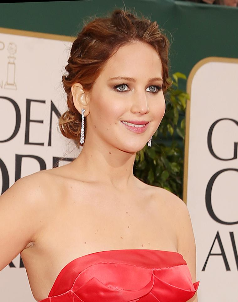 Jennifer Lawrence arrives at the 70th Annual Golden Globe Awards at the Beverly Hilton in Beverly Hills, CA on January 13, 2013.