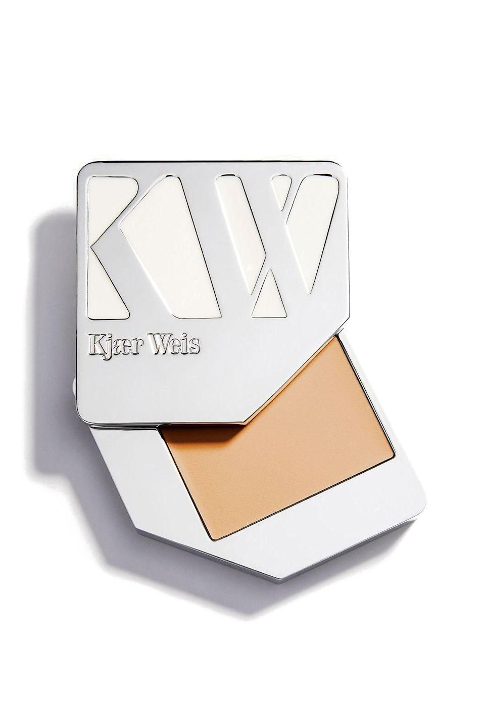 "<p><strong>Kjaer Weis</strong></p><p>net-a-porter.com</p><p><strong>$68.00</strong></p><p><a href=""https://go.redirectingat.com?id=74968X1596630&url=https%3A%2F%2Fwww.net-a-porter.com%2Fen-us%2Fshop%2Fproduct%2Fkjaer-weis%2Fcream-foundation-silken%2F639788&sref=https%3A%2F%2Fwww.marieclaire.com%2Fbeauty%2Fg33404973%2Fplastic-free-beauty-products%2F"" rel=""nofollow noopener"" target=""_blank"" data-ylk=""slk:SHOP IT"" class=""link rapid-noclick-resp"">SHOP IT</a></p><p>Kjaer's Weis' refillable foundation is a little pricey, but the quality is unparalleled compared to most package-conscious brands. It blends super easily into my face oil, guaranteeing that a little goes a long way. I add just one more layer on trouble spots and under the eyes so not to need concealer.</p>"