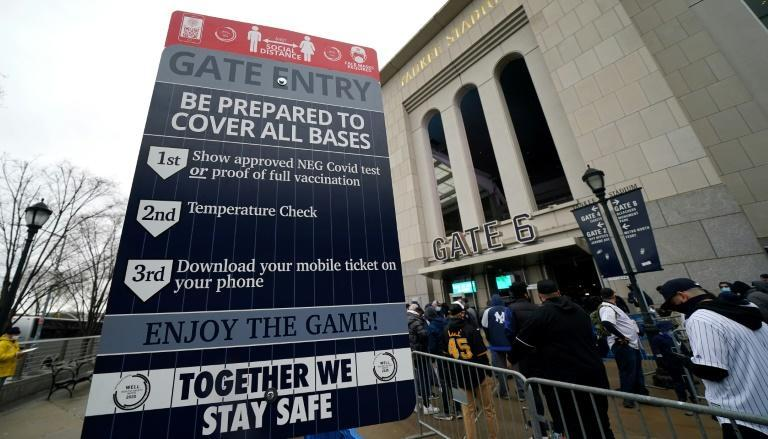 Fans line up in front of Yankee Stadium for Opening Day