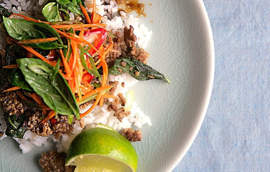 """Basil is wilted like a leafy green in this stir-fry, then added raw at the end for a double dose of its aromatic flavor. <a href=""""https://www.bonappetit.com/recipe/thai-beef-with-basil?mbid=synd_yahoo_rss"""" rel=""""nofollow noopener"""" target=""""_blank"""" data-ylk=""""slk:See recipe."""" class=""""link rapid-noclick-resp"""">See recipe.</a>"""