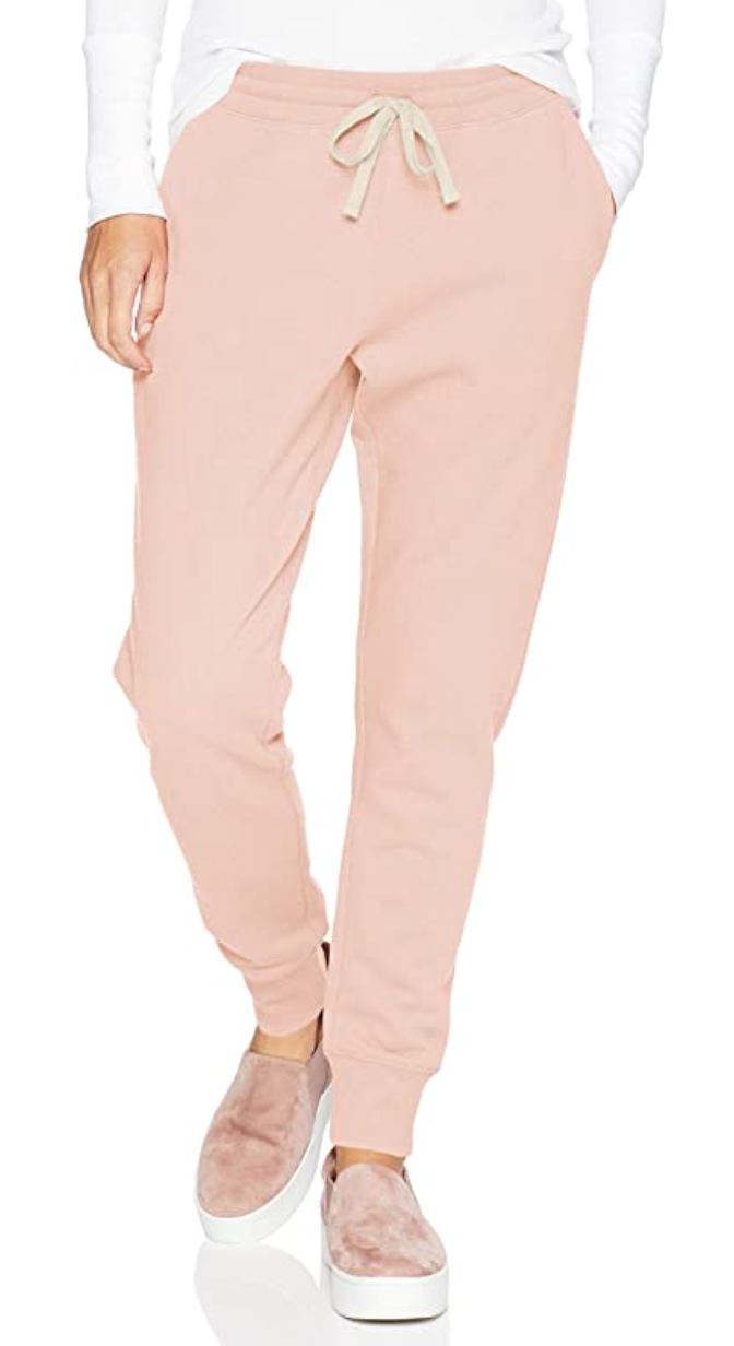 Amazon Essentials Women's French Terry Jogger Sweatpant in Light Pink