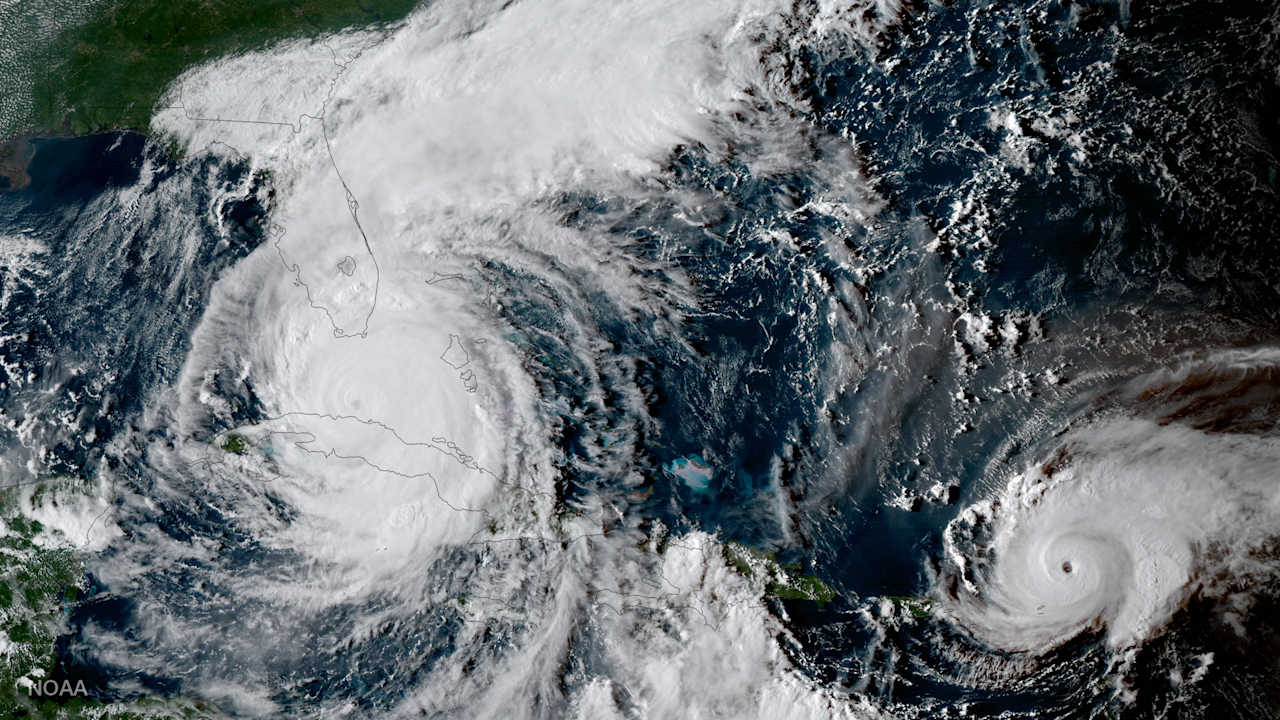 <p>GOES-16 captured this geocolor image of Hurricanes Irma and Jose in the Atlantic Ocean on the evening of Sept. 9, 2017. (Photo: NOAA) </p>