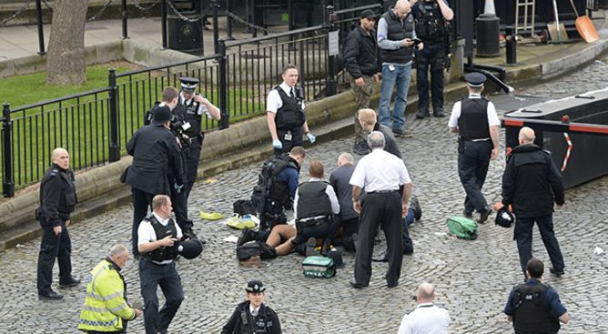 The attacker was killed by police outside Parliament. Photo: AAP