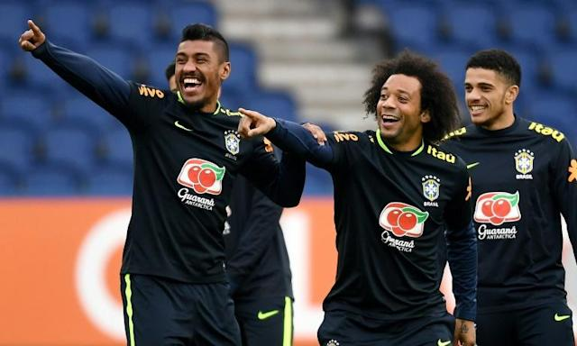 The fans will clamour to see Brazil's stars like Marcelo (in the centre) but they will be surrounded by tight security