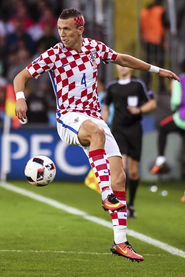 FILE - In this Saturday, June 25, 2016 filer, m Croatia's Ivan Perisic controls the ball during the Euro 2016 round of 16 soccer match between Croatia and Portugal at the Bollaert stadium in Lens, France. (AP Photo/Geert Vanden Wijngaert)