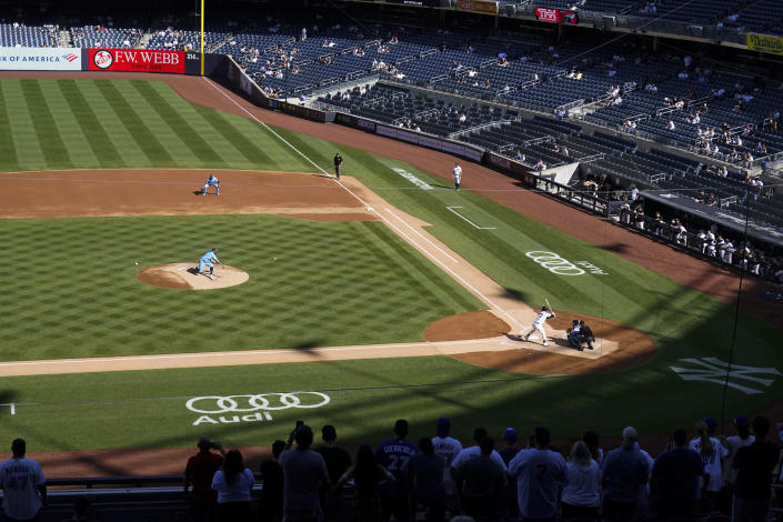 Toronto Blue Jays' Alek Manoah delivers a pitch during the second inning of the first game of a baseball doubleheader against the New York Yankees Thursday, May 27, 2021, in New York. The Blue Jays won 2-0. (AP Photo/Frank Franklin II)