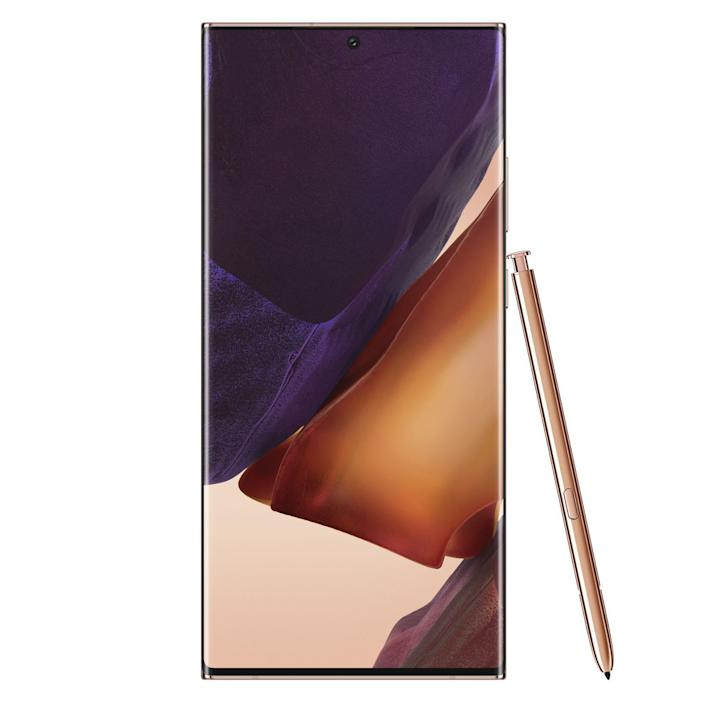 """<p><strong>SAMSUNG</strong></p><p>amazon.com</p><p><strong>$1199.99</strong></p><p><a href=""""https://www.amazon.com/dp/B08BX7N9SK?tag=syn-yahoo-20&ascsubtag=%5Bartid%7C10060.g.35226246%5Bsrc%7Cyahoo-us"""" rel=""""nofollow noopener"""" target=""""_blank"""" data-ylk=""""slk:Shop Now"""" class=""""link rapid-noclick-resp"""">Shop Now</a></p><p>The <a href=""""https://www.bestproducts.com/tech/a33621320/samsung-galaxy-note20-ultra-review/"""" rel=""""nofollow noopener"""" target=""""_blank"""" data-ylk=""""slk:Samsung Galaxy Note20 Ultra"""" class=""""link rapid-noclick-resp"""">Samsung Galaxy Note20 Ultra</a>, just like the Galaxy S20 Ultra that launched earlier this year, is worth every bit of its epic name. It is unsurprisingly Samsung's most productive smartphone to date, and like all Note products that precede it, it is defined by the S Pen stylus, as well as its massive display panel. Combined, they give the big Galaxy entertainment, multitasking, and productivity features that rivals cannot match.<br><br>Thanks to Bluetooth connectivity, a built-in battery, and support for gesture controls, the S Pen stylus of the Galaxy Note20 Ultra is more capable than ever. The accessory can now allow you to take control of your phone without touching it.<br><br>Samsung has also partnered with Microsoft to ensure that users can utilize the Note20's vast capabilities to the fullest via an improved integration with a PC via <a href=""""https://support.microsoft.com/en-us/help/4531317/setting-up-and-using-link-to-windows"""" rel=""""nofollow noopener"""" target=""""_blank"""" data-ylk=""""slk:Link to Windows"""" class=""""link rapid-noclick-resp"""">Link to Windows</a>. Power users can sync and access their notes across multiple devices, and the phones can also connect wirelessly with Samsung smart TVs.<br><br>Of course, the Galaxy Note20 Ultra also has superb front- and rear-facing cameras. The video-recording and editing capabilities of the phablet are also exceptional and an instant contender for the best in the business.<br><br>In case you find the Galaxy Note"""